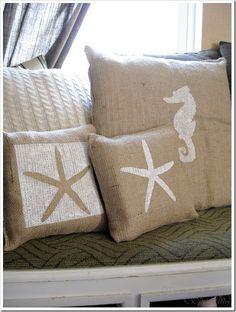 summer burlap pillows