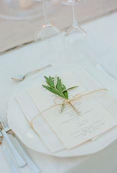 I definitely want the menus printed and this is amazing- just like this! and with the plant piece Classic wedding menu card adorned with a fresh sprig of sage (Photo: Kate Headley) Wedding Menu Cards, Wedding Stationary, Wedding Table, Wedding Reception, Our Wedding, Destination Wedding, Wedding Venues, Wedding Foods, Wedding Catering