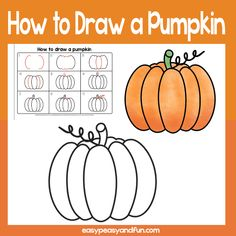 Pumpkin Guided Drawing Lesson step by step pumpkin drawing tutorial Fall Drawings, Art Drawings For Kids, Halloween Drawings, Drawing For Kids, Painting For Kids, Art For Kids, Pumpkin Drawing, Pumpkin Art, Pumpkin Painting
