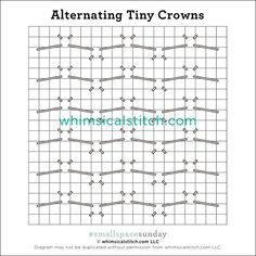 Tiny Crowns — whimsicalstitch.com Needlepoint Stitches, Embroidery Stitches, Needlework, I Respect You, Stitch Book, Little Stitch, Straight Stitch, Color Lines, Darning