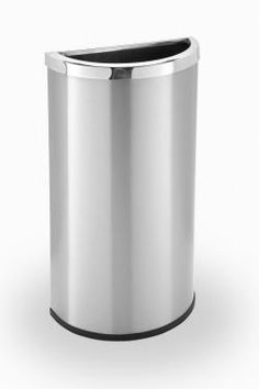 Stainless Steel Garbage Can - Steel Trash Can - Commercial Zone - outdoor & indoor trash cans, recycle bins, & ashtrays for commercial, office or home. Trash Removal, Trash Containers, Kitchen Trash Cans, Waste Container, Garbage Can, Round Design, Lobbies, Recycling Bins, Stainless Steel