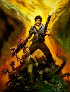 Evil Dead Regeneration art by Jeff Haynie.loved this game too. Best Horror Movies, Scary Movies, Horror Dvd, Cult Movies, Evil Dead Regeneration, Bruce Campbell Evil Dead, Evil Dead Series, Cyberpunk, Ash Evil Dead