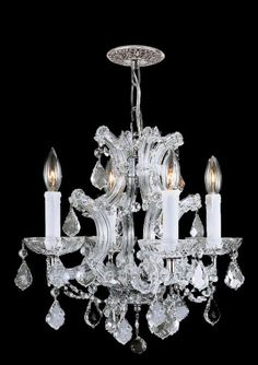 <li>Brighten your home decor with a 4-light mini chandelier</li> <li>Light fixture features clear hand-cut crystals and a hand-polished chrome finish</li> <li>Lighting designed for today's interior spaces</li>