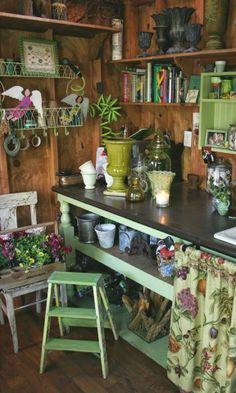 Flower arranging/potting area with everything attractively organized!
