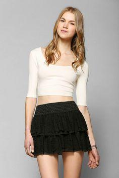 Raga Tiered Crochet Mini Skirt #urbanoutfitters