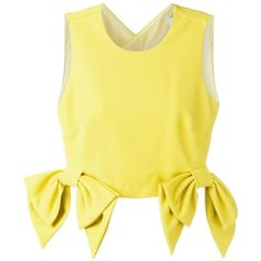 MSGM cropped bow detail top (1,975 CNY) ❤ liked on Polyvore featuring tops, msgm, bow crop top, cut-out crop tops, yellow top and yellow crop top