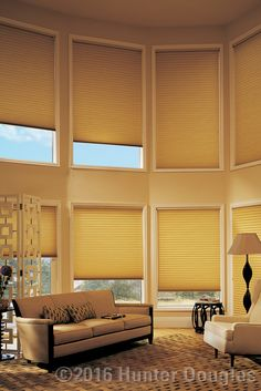 Floor to ceiling windows. Amazing! Made more amazing with insulating (and gorgeous) Hunter Douglas Duette® Architella® honeycomb shades.