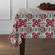 Winter Flower Tablecloth  | Crate and Barrel