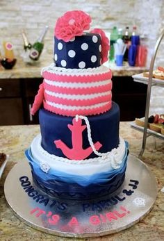 Nautical themed baby shower cake. Anchors away, a girl is on her way!