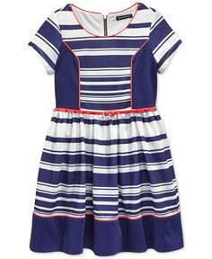 Sequin Hearts Girls' Striped & Solid Colorblocked Dress