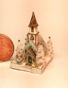 OOAK Miniature Dollhouse Christmas Putz Handcrafted Glitter Church Angel House   eBay