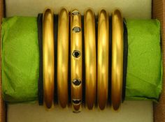 Six 22k Gold and Black Diamond Rings RESERVED by italilambertini