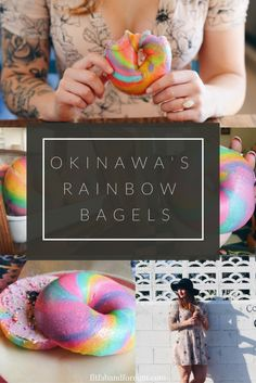 These rainbow bagels can be found in Okinawa, Japan. Not only are they gorgeous, but they're also delicious and fluffy, too!