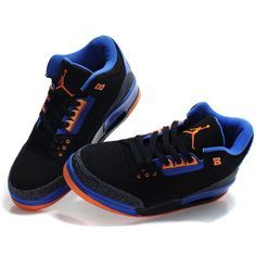 TOP A+ Nike Air Jordan 3 Suede Sneakers Black/Blue/Orange TAJ3-001 ❤ liked on Polyvore
