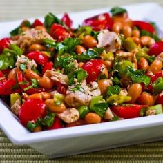 I loved this salad combination of pinto beans, olive-oil packed tuna, peperoncini, green onions, tomatoes, and parsley.