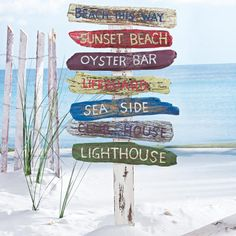 Beach Signs on a Stake