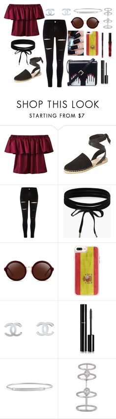 """Spain"" by letiziiacuschieri-i ❤ liked on Polyvore featuring Loeffler Randall, River Island, Boohoo, 3.1 Phillip Lim, Casetify, Chanel, Forevermark, Messika and Lulu Guinness"