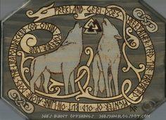 Freki and Geri Wood Plaque