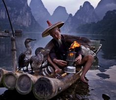 ‪#‎Cormorant‬ Fishing with the Fisherman on Li River, ‪#‎Guilin‬