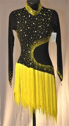 Black & Yellow Fringe Latin Dress
