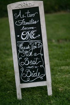 Chalkboard Wedding Ceremony Sign | Michael Anthony Photography | #Weddings