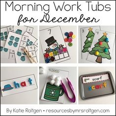 Morning Work Tubs for Kindergarten {December} - Your Kindergarten students can use these 20 activities all month learn to work on various math, literacy, and fine motor skills. Many activities have a Christmas or winter theme kids will love. Grab them today! They're great for your classroom or homeschool seat work or centers.