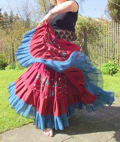 Gypsy skirt tribal belly dance skirt 25 yard skirt by luloah, £55.00