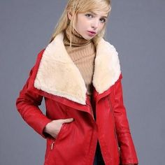 Women's Large Turn-Down Fur Collar Lining Suede Short Coat Jacket 2 Colors S-XL