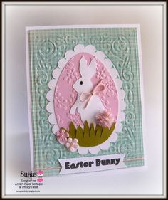 handmade Easter card from Scrappin Dhilly ... luv the embossing bolder textured matt on gingham print paper ... bunny on an egg ...