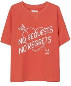 NO REQUESTS NO REGRETS SHORT SLEEVE LOOSE FIT SWEAT