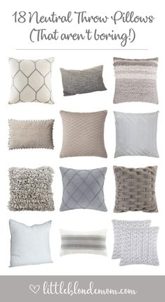 Ultimate List of Throw Pillows - 72 throw pillows to spruce up your couch! Text pillows, patterned pillows, neutral pillows, bright colorful pillows. This list has them all! #homedecor #homedecorideas #homestyling #blogger #blog #blogpost #livingroomideas