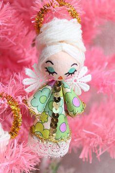 Small Vintage Style Retro Kitsch Christmas Angel Tree Ornament