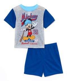 Look what I found on #zulily! Blue & Gray Mickey Mouse Pajama Set - Infant #zulilyfinds