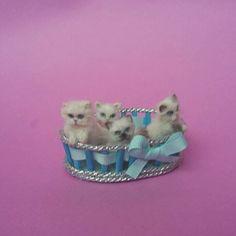 OOAK Realistic  4little kittens cat in basket 1:12 Dollhouse Handmade by ewelina