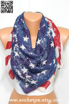 Vintage Inspired US Flag American Flag Scarf Patriotic by escherpe