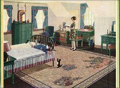 1928 Congoleum Rug - Attic Bedroom by American Vintage Home, via Flickr