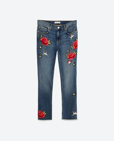 Zara. Jeans with roses. Denim Trends Fall '16/ Winter '17.Tendencias Otoño 2016. Trends Herbst 2016