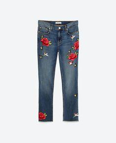 Zara. Jeans with roses. Denim Trends Fall '16/ Winter '17.Tendencias Otoño 2016. Trends Herbst 2016