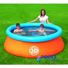Splash & Play 3D Adventure 7 Ft. Fast Set Family Pool - Kids will have sensational fun wearing 3D goggles, diving beneath the surface and meeting colorful characters while searching for sunken treasures! 3D imagery running around the pool perimeter adds to the deep sea fun.