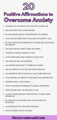 20 Positive Affirmations For Overcoming Anxiety