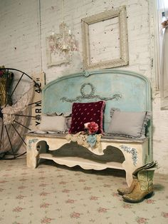 Look how glamorous this headboard bench is... you could make this too.
