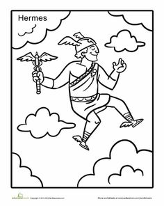 greek god hermes coloring page