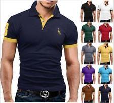 Fashion Men's Slim Fit POL Shirts Short Sleeve Casual Gol T-Shirt Tops Jersey