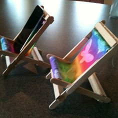Popsicle sticks, hot glue and scrap fabric makes a nice iPod chair or Fairy chair. Sorry I don't have a tutorial but I hope this chair inspires you to create!