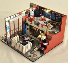 """Check Price Miniature Wood Doll House Furniture DIY Dollhouse Kit Assembling Toys for Child/Friend's Gift,""""Final Fantasy"""" Doll's House Dollhouse Kits, Wooden Dollhouse, Dollhouse Furniture, Dollhouse Miniatures, Dollhouse Dolls, Small Tiny House, Tiny House Design, Miniature Rooms, Miniature Houses"""