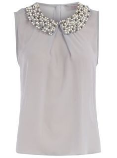 Gray Collar Top via Dorothy Perkins