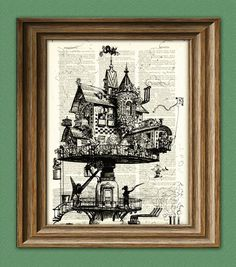 Vintage Dictionary Art Print Steampunk aerial by collageOrama