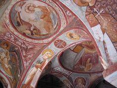 Fresco in de rotskerken van Goreme, Cappadocia, Turkije, 7e - 10e eeuw.