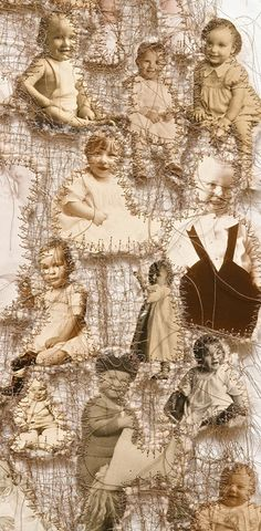 Lisa Kokin / Maternal Instinct (Detail), 2001 / Mixed media sewn found photo collage / 47 x 13 inches.