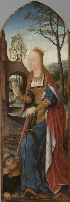 Saint Catherine of Alexandria, with the Defeated Emperor  Possibly the right wing from a triptych  Artist/maker unknown, active Antwerp?, Netherlandish  Geography: Made in Southern Netherlands (modern Belgium), Europe Possibly made in Antwerp, Southern Netherlands (modern Belgium), Europe Date: c. 1510-1530 Medium: Oil on panel Dimensions: 35 9/16 x 12 inches (90.3 x 30.5 cm)
